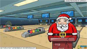 A Worried Santa Claus Gets Stuck In A Chimey and Bowling Alley Background.