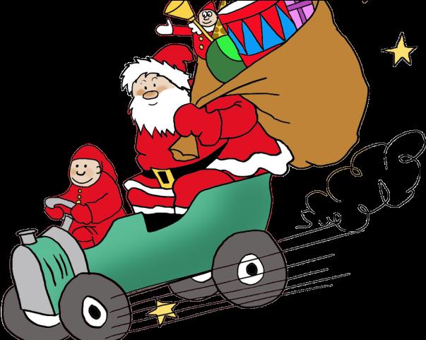 Drawn Santa Car.