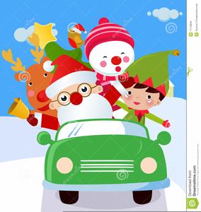 Santa In A Car Clipart.