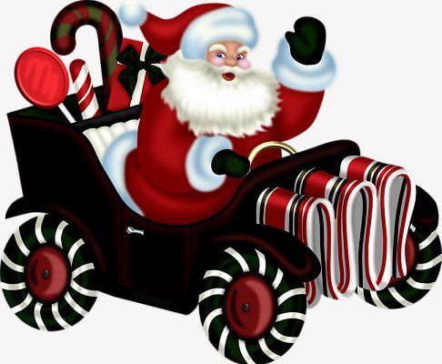 Cartoon Santa Claus Driving A Car PNG, Clipart, Car, Car.