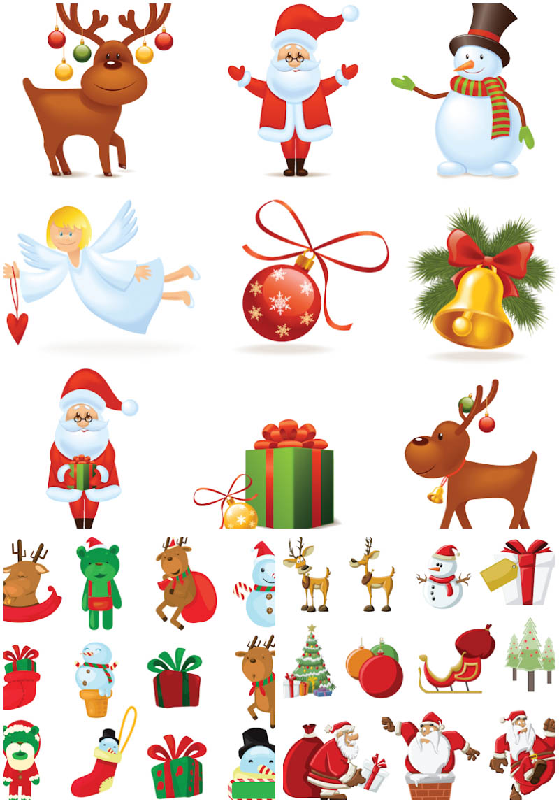3 Sets of 32 vector cartoon Santa Claus clipart collections with.