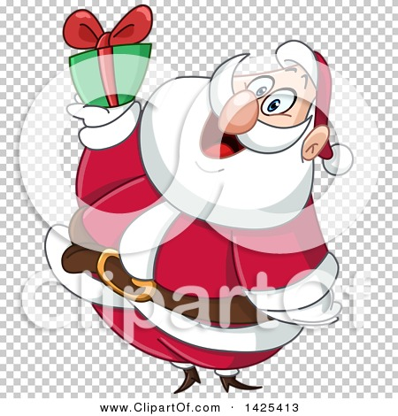 Clipart of a Cartoon Santa Holding up a Christmas Gift.