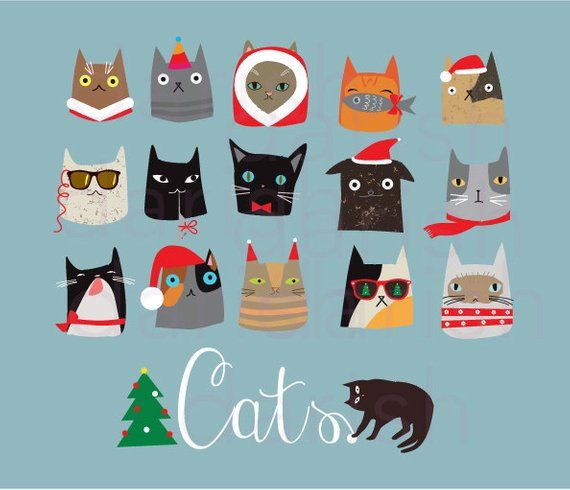 Christmas Cats Clip Art, Cat Clipart, Animal clipart, Cat.
