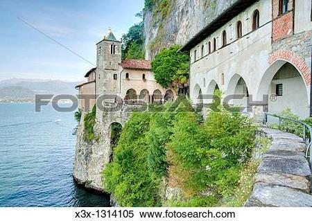 Stock Image of Eremo San Caterina del Sasso Lago Maggiore Italy.