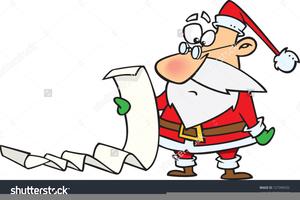 Santa Checking His List Clipart.