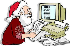 Santa Claus Checking His List of Naughty and Nice.