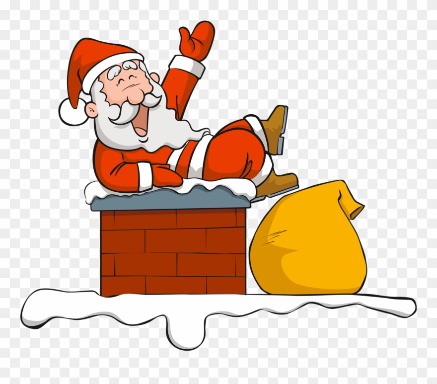 Chimney Clipart With Santa Face.