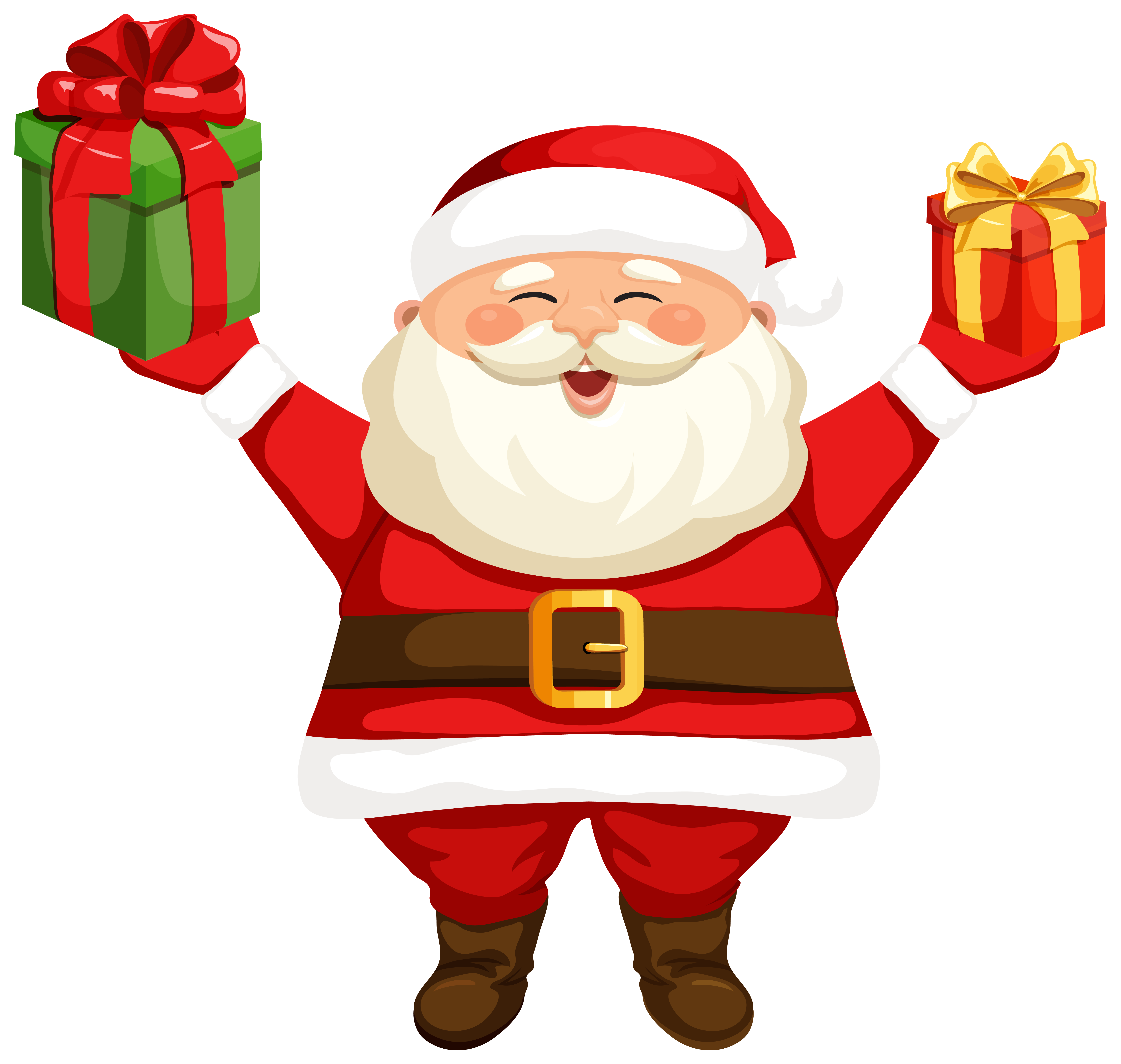 Santa Claus with Gifts PNG Clipart Image.