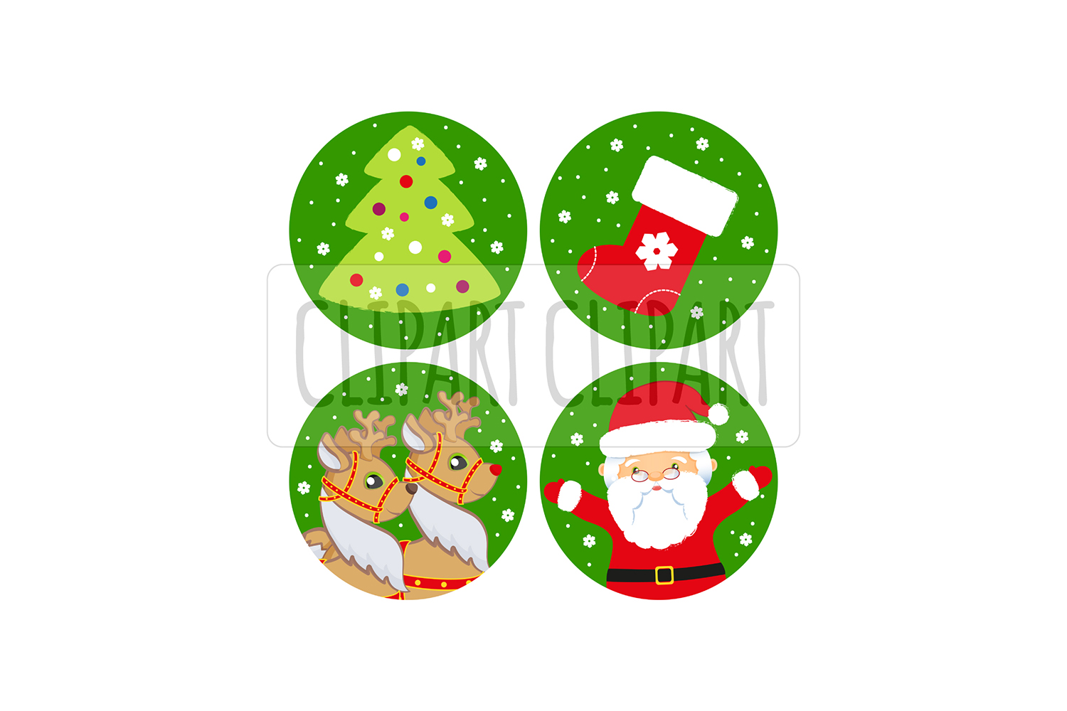 Santa Claus and deer. Xmas clipart png.