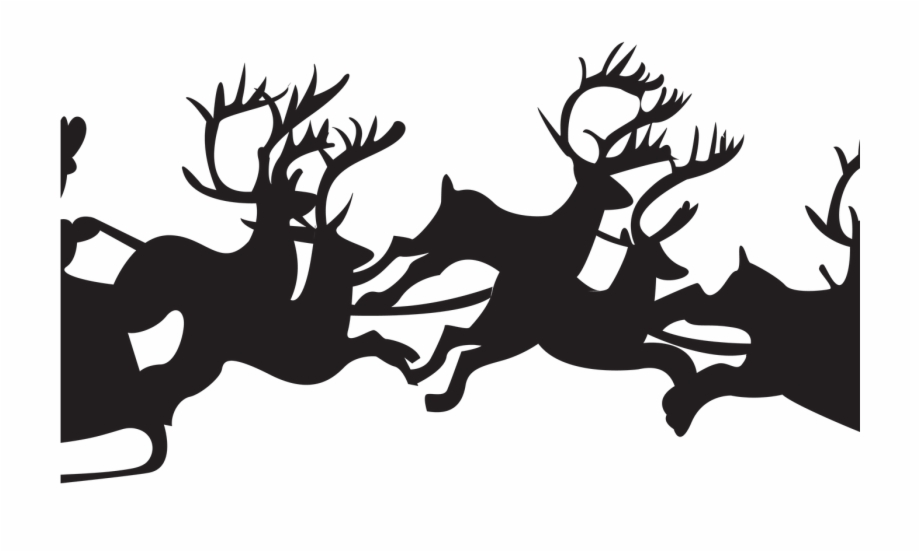 Santa Sleigh Silhouette Transparent Transparent Background.