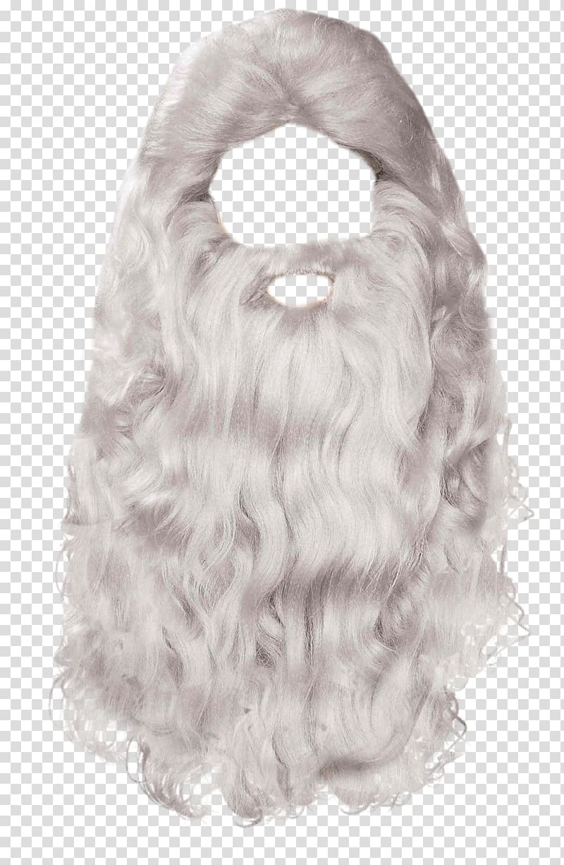 White wig, Santa Claus Mrs. Claus Beard, Beard transparent.