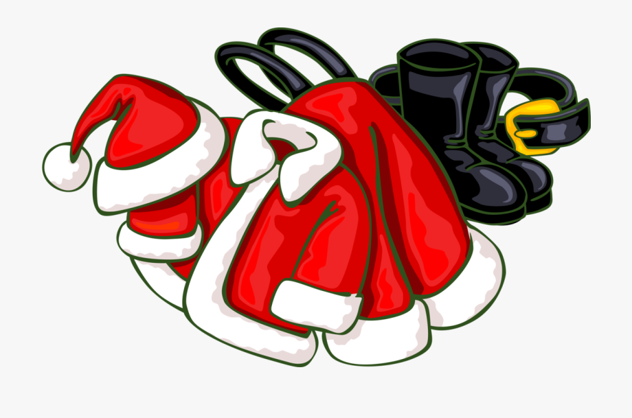 Vector Illustration Of Santa Claus Suits, Boots, And.