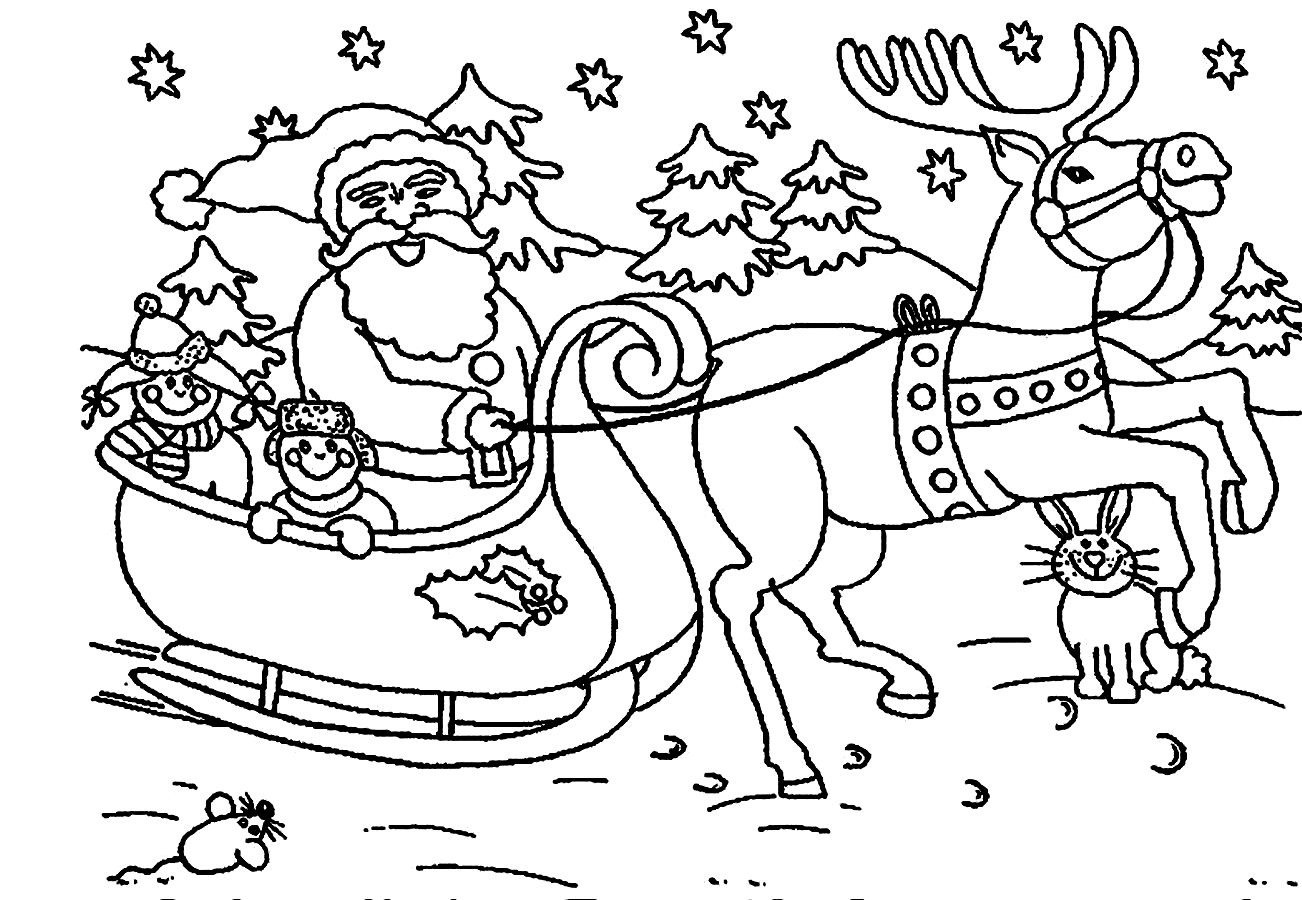 Simple For Babies Santa Claus Clipart Coloring Pages Printable.