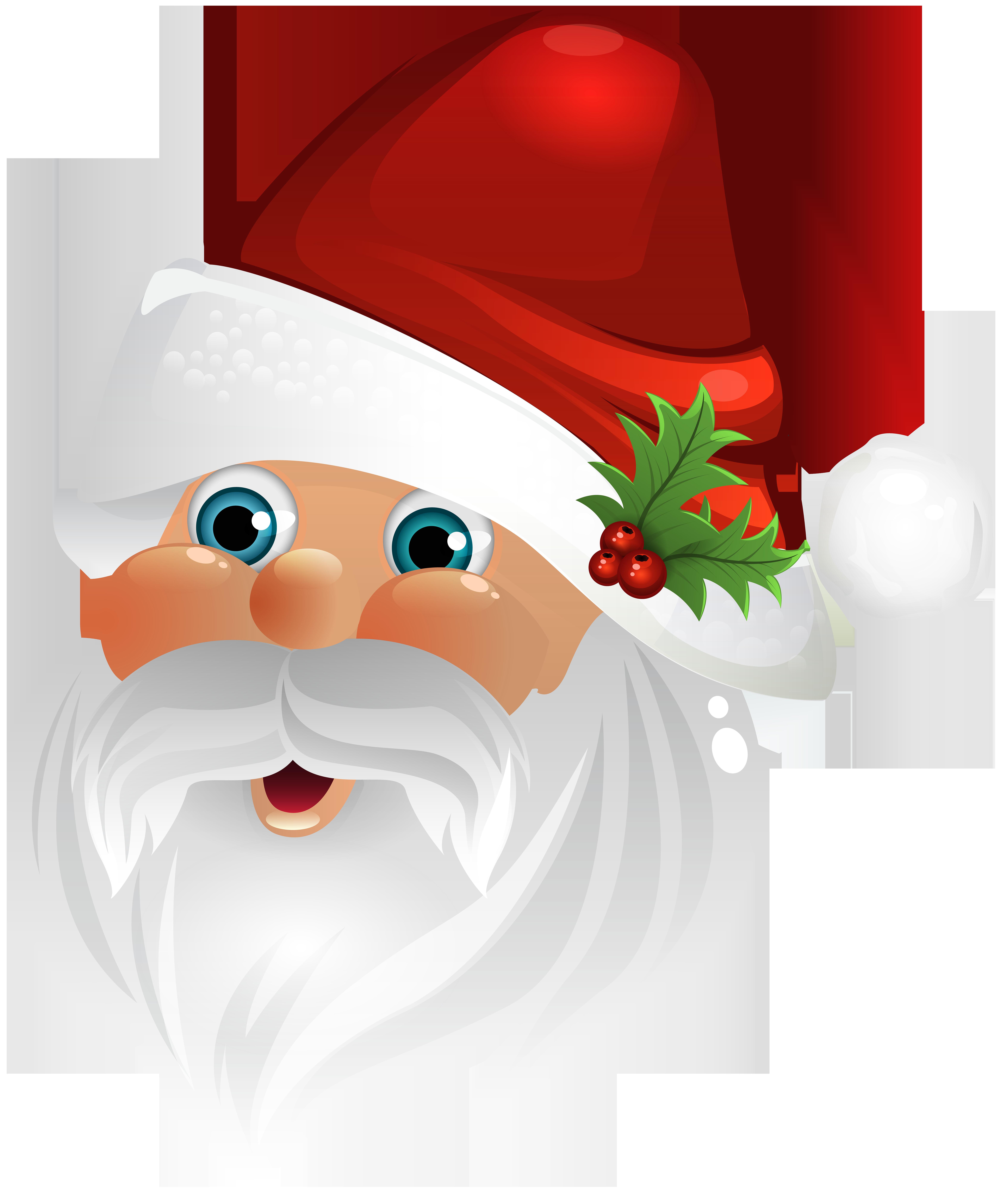 Santa Claus Face Transparent Clip Art Image.