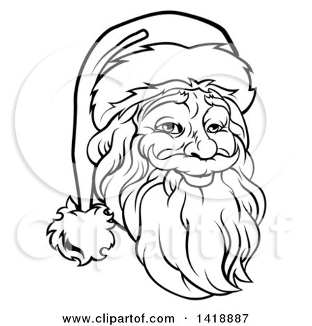 Clipart of a Black and White Lineart Portrait of a Santa Claus.
