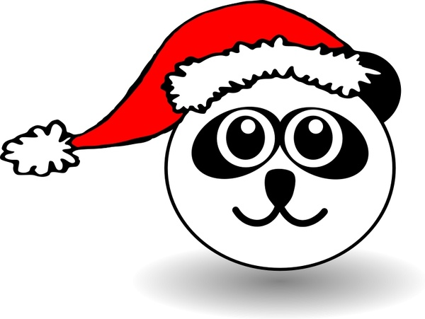 Funny panda face black and white with Santa Claus hat Free vector.
