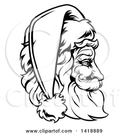 Clipart of a Black and White Lineart Profile Portrait of a Jolly.