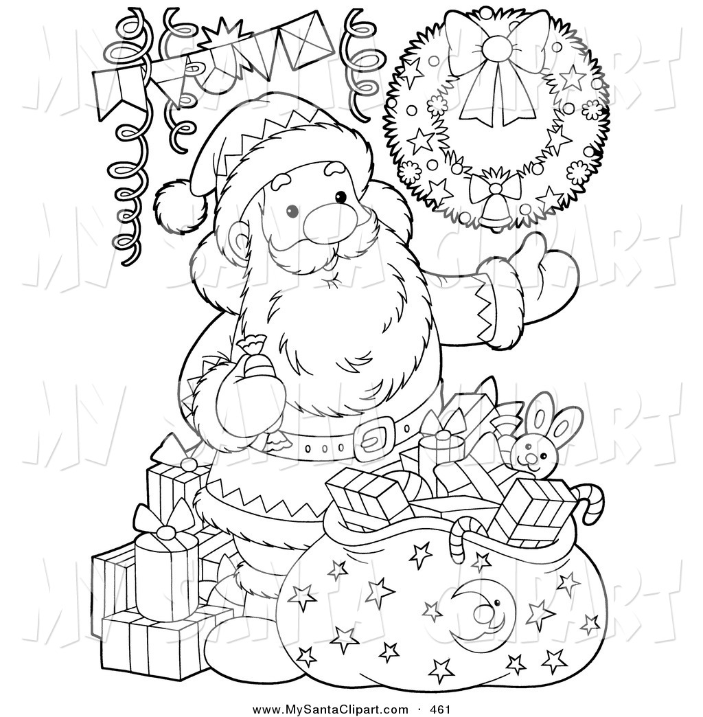 Free Santa Claus Clipart Black And White.