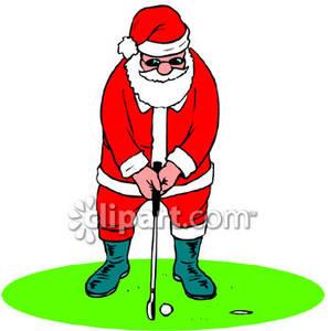 Santa Claus Playing Golf.