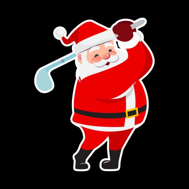 Christmas Santa Claus With Golf Club.