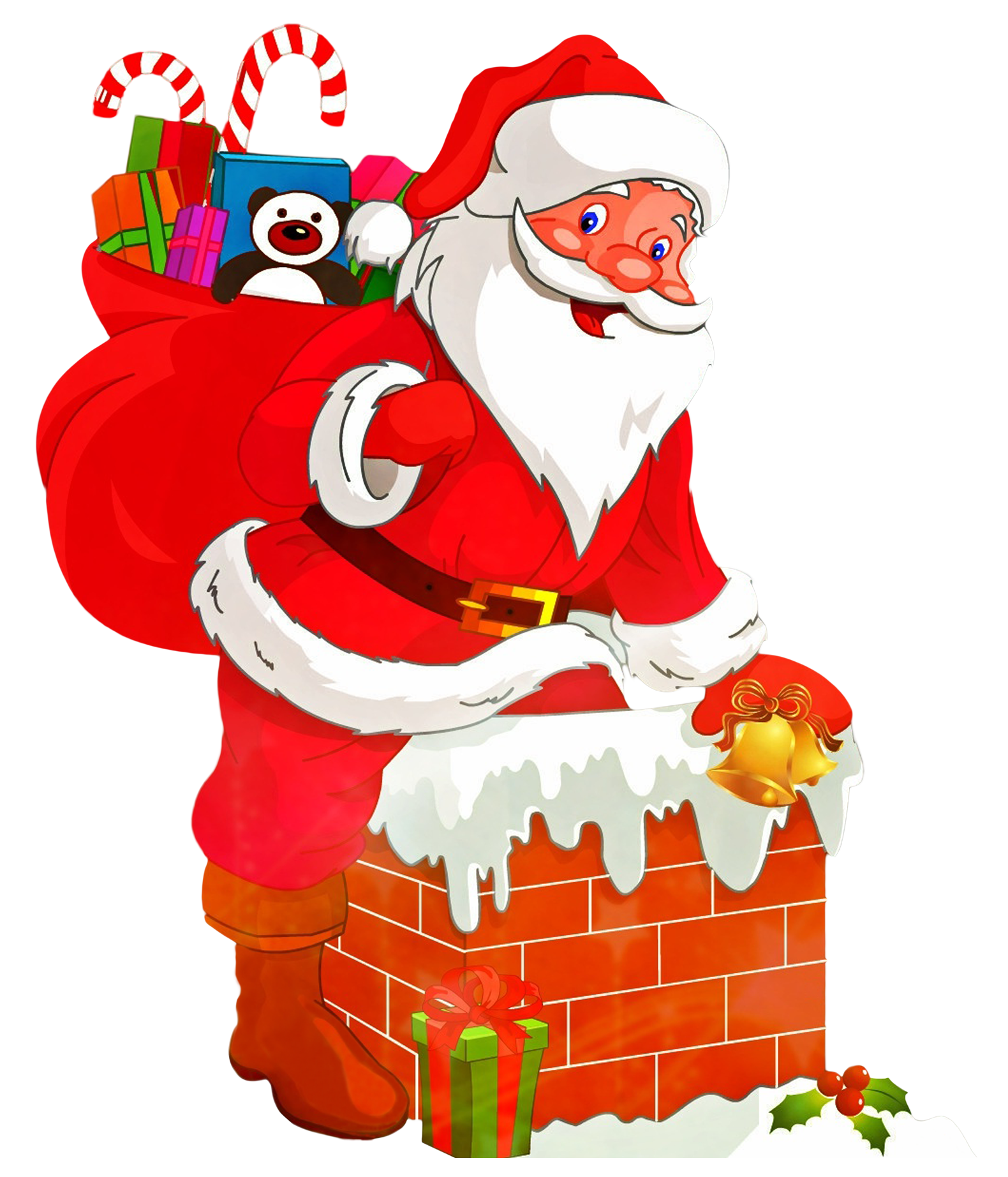 Santa Claus With Gifts PNG Transparent Image.