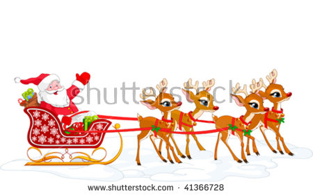 Showing post & media for Cartoon santa claus with sleigh.
