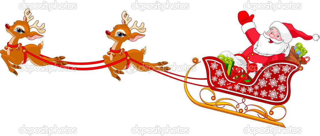 Santa Claus Sleigh Clipart.
