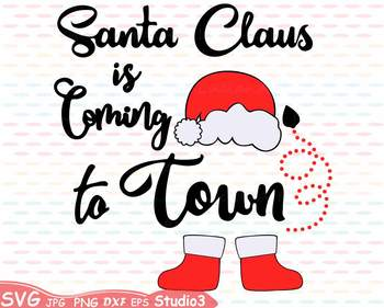 Santa Claus is coming to Town clipart Christmas Holidays Winter hat shoes  65sv.
