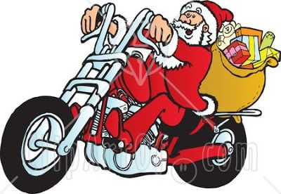 Get this Santa on a Motorcycle clipart picture and use it as.