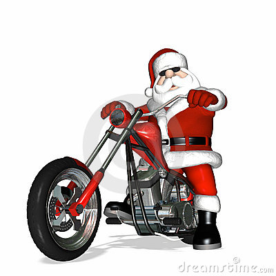 Santa On A Motorcycle Clipart.
