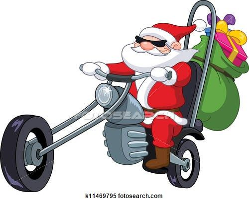 Santa with motorcycle Clipart.