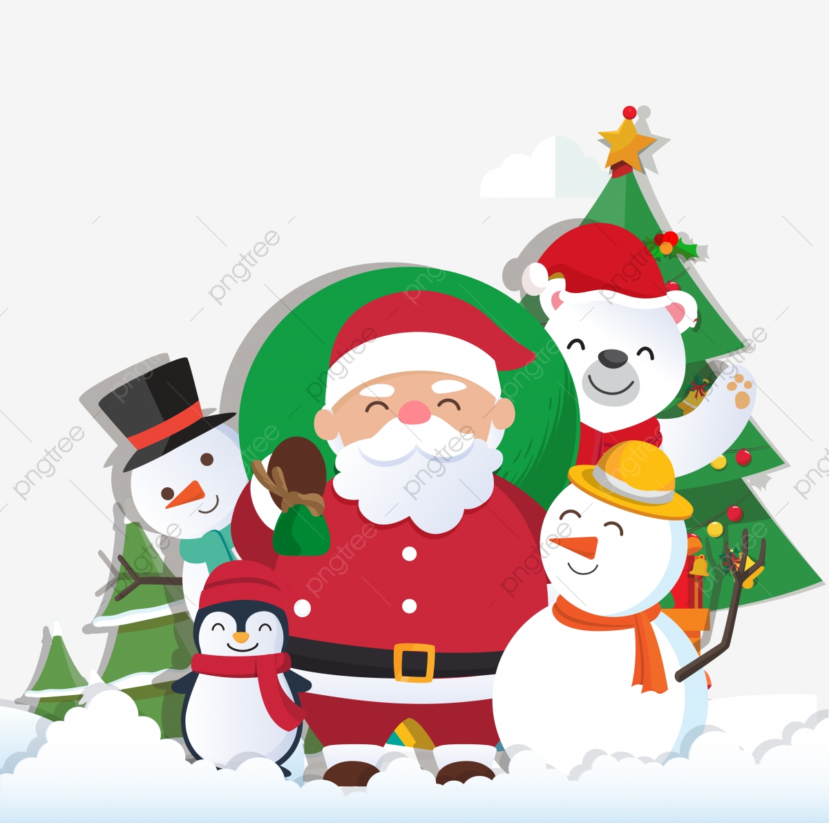 Christmas Background With Santa Claus And Merry Christmas.