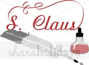 Santa Claus Signature in Red.