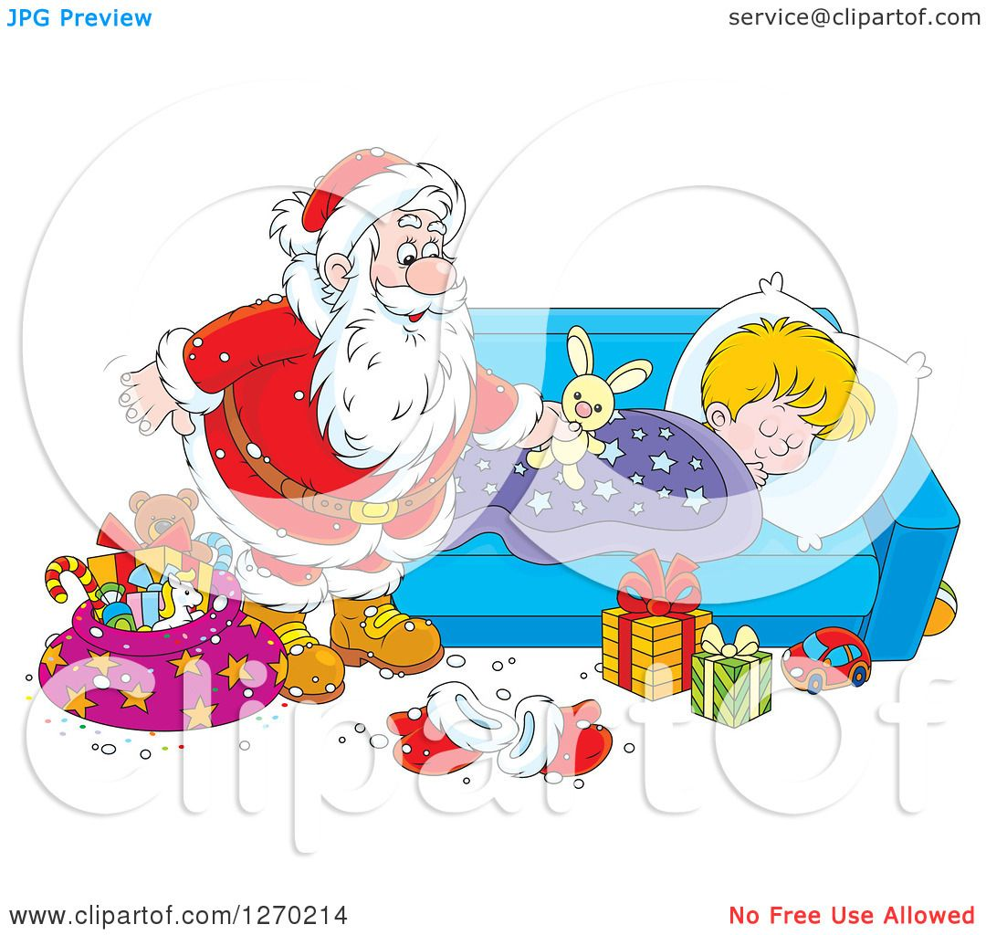 Clipart of a Christmas Santa Claus Leaving a Stuffed Rabbit on a.