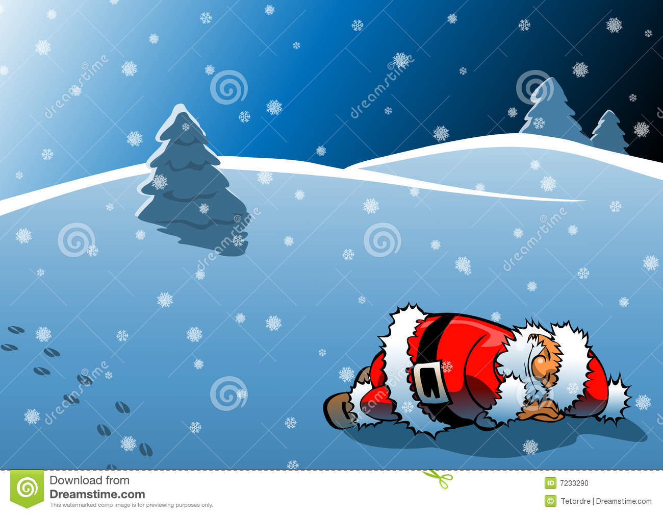 Santa Sleeping Clipart.
