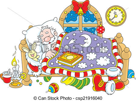Santa Claus Sleeping Clipart.