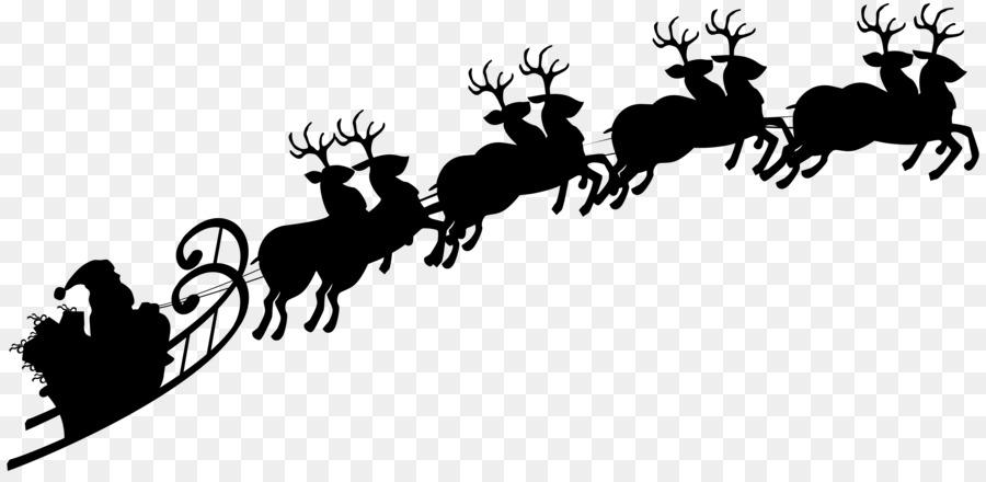 Santa Claus Reindeer Sled Silhouette Cli #40832.