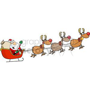 Santa in his sleigh and his reindeer clipart. Royalty.