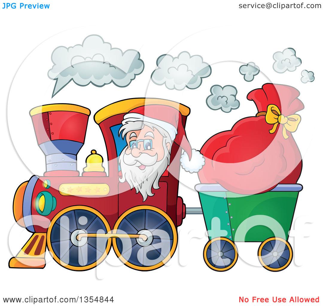 Clipart of a Cartoon Christmas Santa Claus Driving a Train and.