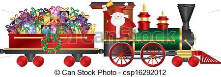 Vector Clip Art of Santa Claus on Train Delivering Presents.