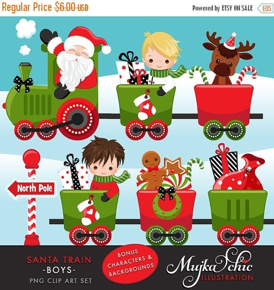 Christmas Santa Train Boys Clipart. Choo Cho Polar Express, Santa.