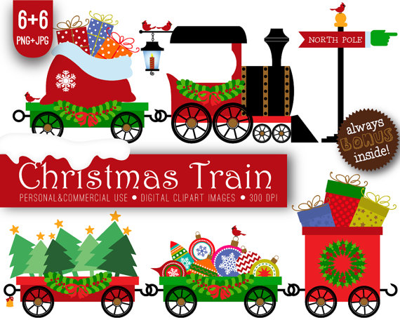 Train clipart christmas.