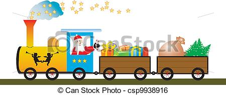 Clip Art Vector of Happy Santa Claus on the train.