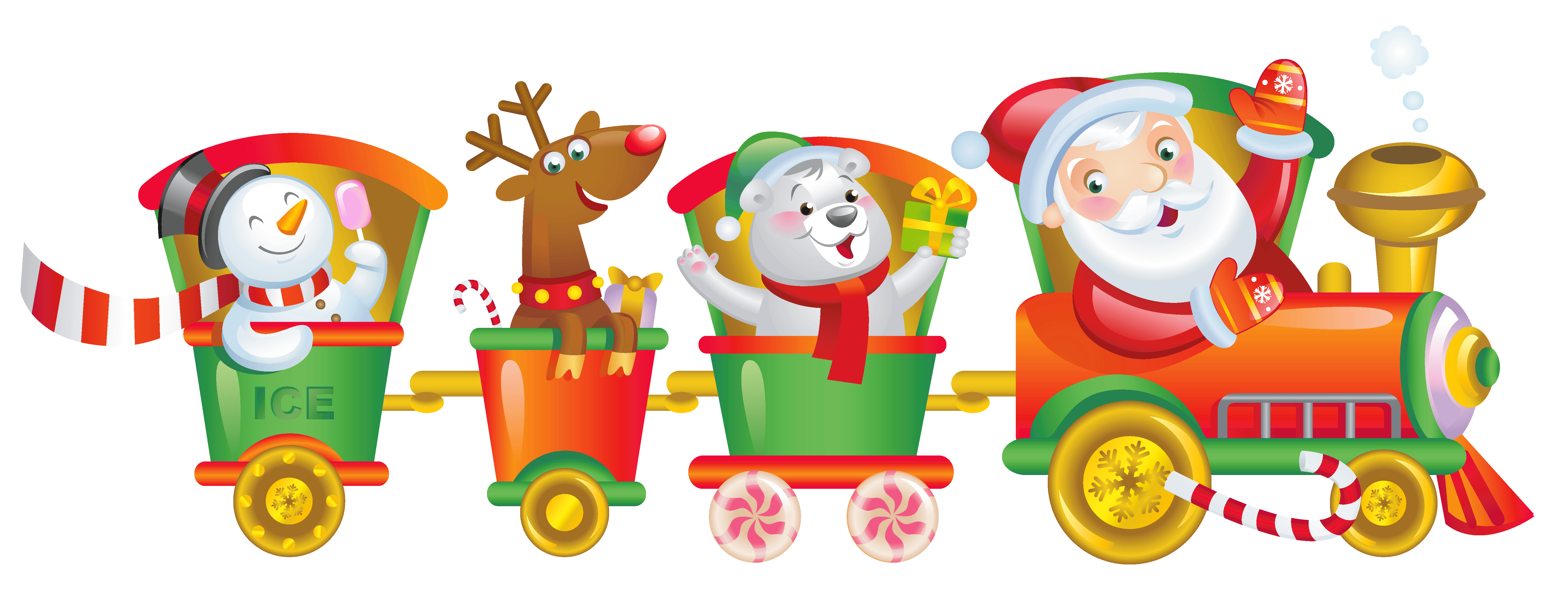 Transparent Christmas Santa Train PNG Clipart.
