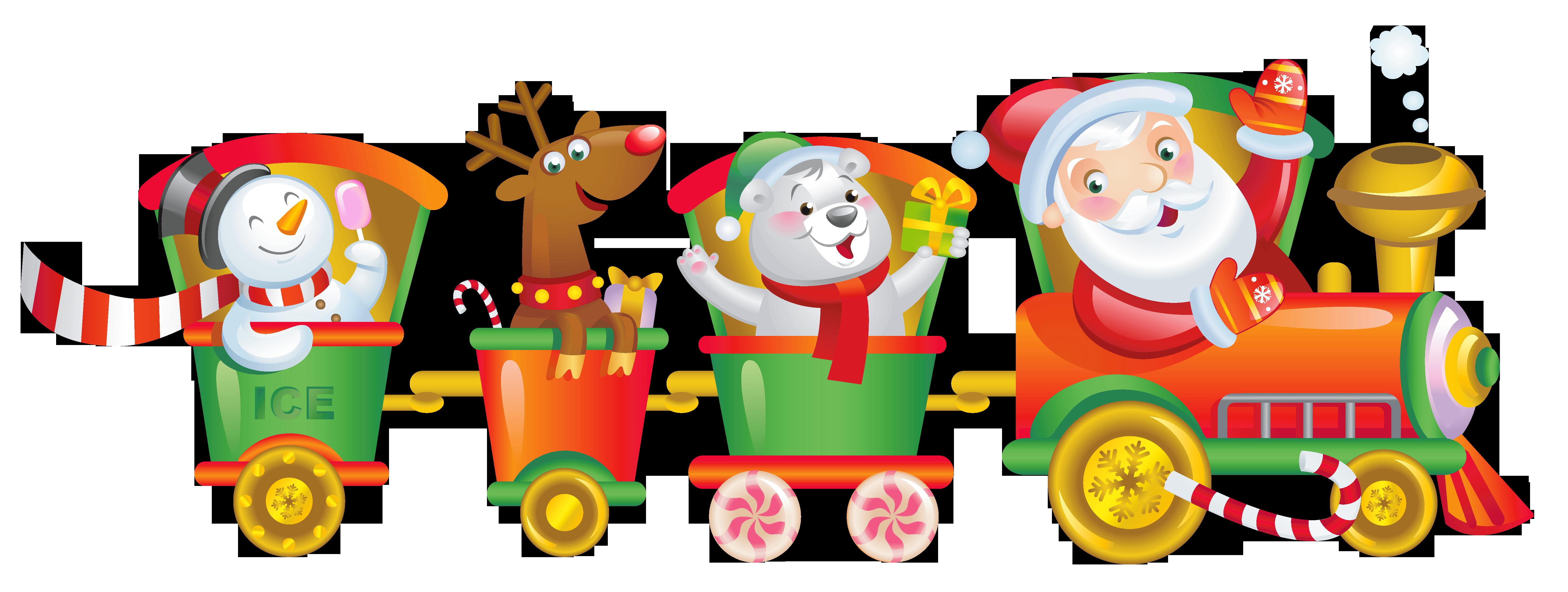 Transparent Christmas Santa Train PNG Clipart.