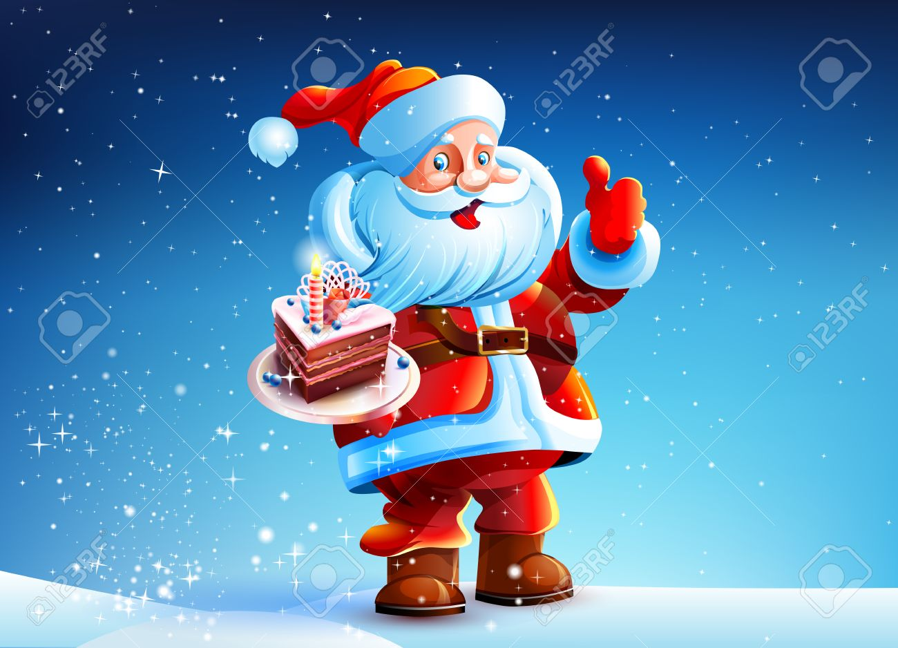 Santa claus eating cake clipart.