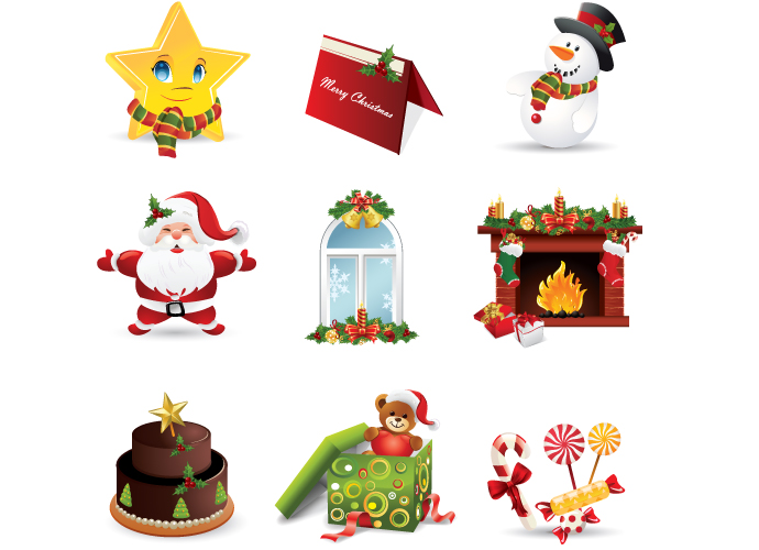 santa claus with cake clipart #6