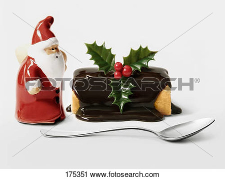 Santa claus with cake clipart.