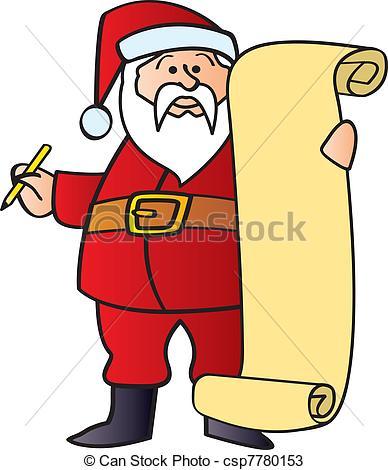 Santas list clipart.