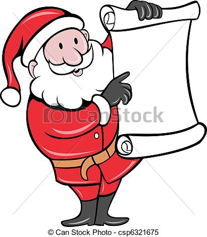Stock Illustrations of Santa Claus standing paper scroll list.